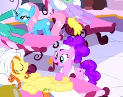Size: 551x437 | Tagged: safe, screencap, bella brella, bubblemint, lotus blossom, ocean dream, pony, filli vanilli, background pony, offscreen character, spa, unnamed pony