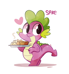 Size: 600x643 | Tagged: safe, artist:php56, spike, dragon, twilight time, baby, baby dragon, bipedal, chibi, chips, cute, dip, food, heart, male, nachos, signature, simple background, smiling, solo, spikabetes, text, white background