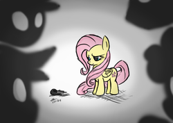 Size: 1748x1240 | Tagged: safe, artist:mrasianhappydude, fluttershy, microphone, stage fright