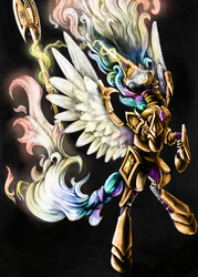 Size: 2500x3500 | Tagged: alicorn, angry, armor, artist:silfoe, axe, badass, battle axe, bipedal, black background, glowing eyes, gritted teeth, magic, messy mane, pony, princess celestia, rage, rearing, safe, simple background, solo, spread wings, telekinesis, traditional art, warrior celestia, weapon, wings