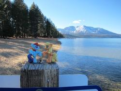 Size: 1280x960 | Tagged: safe, artist:ratofdrawn, applejack, rainbow dash, lake, mountain, photo, ponies around the world