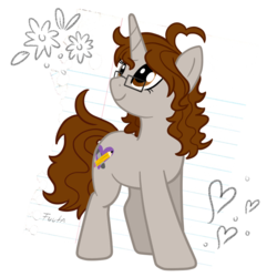 Size: 1000x1000 | Tagged: artist:fuutachimaru, art trade, oc, oc only, paper, pony, safe, sketch, solo, unicorn