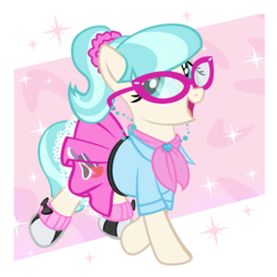 Size: 1000x1000 | Tagged: safe, artist:pixelkitties, coco pommel, earth pony, pony, 1950s, 50's fashion, alternate hairstyle, clothes, cocobetes, cute, female, glasses, mare, ponytail, poodle skirt, saddle shoes, shoes, simple background, sneakers, solo, transparent background