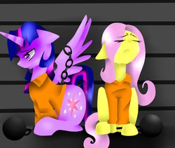 Size: 972x822   Tagged: safe, artist:chiara-dash, fluttershy, twilight sparkle, alicorn, pegasus, pony, ball and chain, clothes, crying, eyes closed, female, frown, jail, lesbian, looking down, mare, prison, prison outfit, prisoner ts, sad, shipping, sitting, spread wings, twilight sparkle (alicorn), twishy, wings