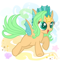 Size: 1000x1000 | Tagged: artist:fuutachimaru, art trade, filly, merpony, oc, ocean, oc only, pegasus, pony, safe, solo