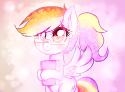 Size: 1411x1043 | Tagged: safe, artist:toroitimu, rainbow dash, pegasus, pony, abstract background, adorkable, bipedal, book, cute, dashabetes, dork, ear fluff, egghead, female, glasses, hoof hold, looking at you, mare, nerd, nerd pony, rainbow dork, smiling, solo, spread wings