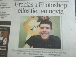 Size: 480x360 | Tagged: safe, applejack, brony, mexico, newspaper, op is a duck, photo, publimetro, spanish, translated in the description, waifu, why