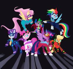 Size: 1280x1206 | Tagged: safe, artist:starrypon, applejack, fili-second, fluttershy, humdrum, masked matter-horn, mistress marevelous, pinkie pie, radiance, rainbow dash, rarity, saddle rager, spike, twilight sparkle, zapp, alicorn, pony, power ponies (episode), female, mane seven, mane six, mare, power ponies, twilight sparkle (alicorn)