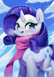 Size: 2480x3508 | Tagged: safe, artist:aruurara, rarity, pony, unicorn, clothes, cloud, cute, female, looking at you, mare, raribetes, scarf, solo