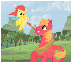 Size: 800x701 | Tagged: safe, artist:thephoebster, big macintosh, oc, oc:suncrisp, earth pony, pony, father and daughter, filly, male, offspring, parent:big macintosh, parent:fluttershy, parents:fluttermac, stallion, sweet apple acres, wind