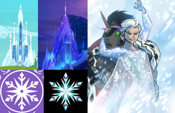 Size: 1097x713 | Tagged: safe, artist:bgn, edit, edited screencap, screencap, king sombra, human, anthro, blizzard, building, castle, comparison, confused, cropped, crossover, crossover shipping, crystal castle, crystal empire flag, elsa, elsombra, female, frozen (movie), glare, grin, ice, ice castle, male, open mouth, palace, see-through, smiling, snow, snowfall, snowflake, straight, symbol, symbols, wide eyes