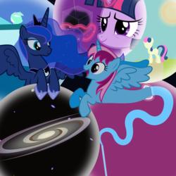 Size: 7168x7168 | Tagged: safe, artist:parclytaxel, bon bon, lyra heartstrings, princess luna, sweetie drops, twilight sparkle, oc, oc:parcly taxel, alicorn, genie, genie pony, pony, albumin flask, .svg available, absurd resolution, alicorn oc, bubble, cosmic ray, dark matter, dream, dream walker luna, galaxy, lucid dreaming, twilight sparkle (alicorn), vector