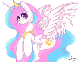 Size: 2000x1600 | Tagged: safe, artist:santagiera, princess celestia, alicorn, pony, cute, cutelestia, female, flying, get, index get, jewelry, looking at you, mare, rearing, regalia, signature, simple background, smiling, solo, spread wings, wings