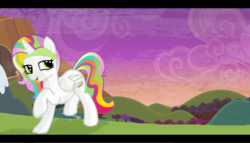 Size: 1024x585 | Tagged: safe, artist:monkfishyadopts, oc, oc only, oc:lillilee, pegasus, pony, blushing, fake horn, horn headband, mary sue, ms paint, solo, sunset, wannabe alicorn