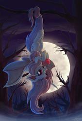 Size: 838x1243   Tagged: safe, artist:sophiesplushies, fluttershy, bat pony, pony, apple, backlighting, dark, female, flutterbat, moon, night, race swap, solo, tree, tree branch, upside down