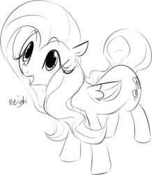 Size: 619x710 | Tagged: safe, artist:dotkwa, fluttershy, cute, female, grayscale, horse noises, horses doing horse things, looking up, monochrome, neigh, open mouth, shyabetes, smiling, solo