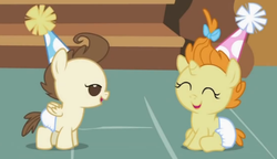 Size: 493x284 | Tagged: safe, screencap, pound cake, pumpkin cake, baby cakes, babies, baby eyes, baby ponies, cake twins, cute, diaper, diapered, diapered colt, diapered filly, diapered foals, eyes closed, happy babies, hat, one month old colt, one month old filly, one month old foals, open mouth, party hats, siblings, sitting, smiling, twins, white diapers