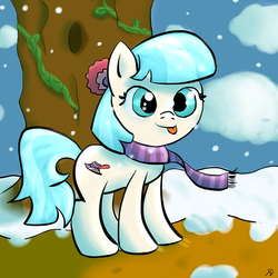 Size: 1024x1024 | Tagged: safe, artist:ashtend, coco pommel, :p, cocobetes, cross-eyed, cute, silly, smiling, snow, snowfall, solo, tongue out, tree