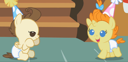 Size: 671x327 | Tagged: safe, screencap, pound cake, pumpkin cake, baby cakes, babies, baby ponies, cake twins, colt, cute, dawwww, diaper, diapered, diapered colt, diapered filly, diapered foals, female, filly, happy babies, male, one month old colt, one month old filly, one month old foals, party hats, siblings, twins, white diapers