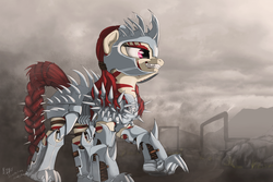Size: 1920x1280 | Tagged: safe, artist:lucky dragoness, oc, oc only, oc:rampage, pony, zebra, fallout equestria, fallout equestria: project horizons, armor, armored pony, badass, barbed wire, death by hugging, fanfic art, female, mare, smiling, solo, spiked armor, spikes, stripes, teeth, wasteland