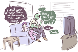 Size: 2412x1609 | Tagged: artist:nobody, couch, daughter, dialogue, father, father and daughter, movie, movie night, oc, oc:anon, oc:gloria, oc only, offspring, pacific rim, parent:oc:gloomy, popcorn, safe, satyr, television