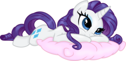 Size: 4085x2000 | Tagged: safe, artist:kp-shadowsquirrel, artist:spier17, rarity, pony, unicorn, cute, female, high res, lying down, mare, pillow, prone, raribetes, simple background, smiling, solo, transparent background