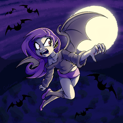 Size: 2300x2300   Tagged: safe, artist:girgrunny, fluttershy, bat, bat pony, human, vampire, bats!, bat wings, blood, claws, clothes, fangs, female, flutterbat, flying, full moon, humanized, moon, night, off shoulder, race swap, red eyes, shoes, shorts, solo, sweater, sweatershy, vertigo, winged humanization, wings