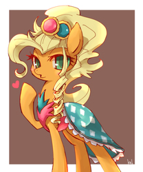 Size: 800x961 | Tagged: safe, artist:kolshica, applejack, earth pony, pony, simple ways, applejewel, clothes, dress, female, heart, looking at you, mare, solo
