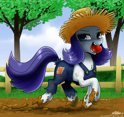 Size: 1000x938 | Tagged: safe, artist:johnjoseco, rarity, pony, unicorn, simple ways, alternate hairstyle, apple, chest fluff, clothes, dirty, female, hat, looking at you, messy, mouth hold, mud, overalls, rarihick, smiling, solo, straw hat, trotting