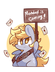 Size: 700x900 | Tagged: safe, artist:php56, derpy hooves, pegasus, pony, chibi, female, frown, glare, letter, mail, mailbag, mailpony, mare, monday, solo, winter is coming