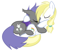 Size: 6001x4886 | Tagged: safe, artist:anonymous, oc, oc only, oc:cloud skipper, oc:midnight blossom, bat pony, pony, absurd resolution, cloudblossom, cuddling, cute, female, male, snuggling, straight