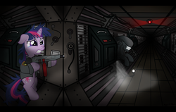 Size: 1280x815   Tagged: safe, artist:icaron, twilight sparkle, alien, pony, xenomorph, alien (franchise), bipedal, clothes, crossover, flamer, gun, show accurate, weapon