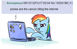 Size: 497x315 | Tagged: 4chan, cancer, computer, grin, hypocrisy, laptop computer, /mlp/, rainbow dash, safe, shitposting, smiling, smirk, solo, what a twist
