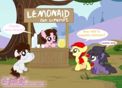 Size: 1236x894   Tagged: safe, artist:shinta-girl, oc, oc only, oc:shinta pony, comet, lemonade stand, ponyville park, spanish, winged shine