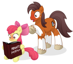 Size: 12000x10500 | Tagged: absurd res, apple bloom, artist:prinnyaniki, blushing, book, caught, niku, oc, reading, safe