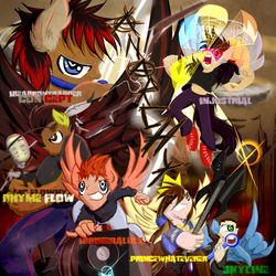 Size: 768x768 | Tagged: safe, artist:frist44, oc, oc only, oc:ibeabronyrapper, oc:ibringdalulz, oc:injustrial, oc:prince whateverer, oc:rhyme flow, oc:skyline, human, pegasus, pony, anarchy, cover art, group, guitar, humanized, lightning, microphone, music, stereo, wings