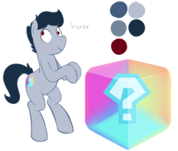 Size: 1280x1085 | Tagged: artist:acstlu, cutie mark, derp, item box, mario kart, oc, oc only, oc:philly, philly, question mark, reference sheet, safe, solo