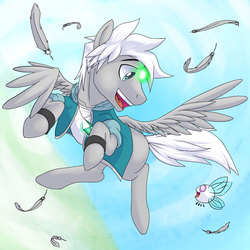 Size: 864x864 | Tagged: safe, artist:tarenest, oc, oc only, oc:bit, oc:zephyr wing, parasprite, pegasus, pony, clothes, crystal, feather, flying, looking at each other, open mouth, sky, smiling, spread wings