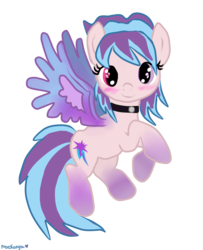 Size: 2292x2820   Tagged: safe, artist:moekonya, oc, oc only, oc:shiny dawn, blushing, choker, colored wings, flying, gradient hooves, gradient wings, heterochromia, looking at you, simple background, smiling, solo, spread wings, transparent background