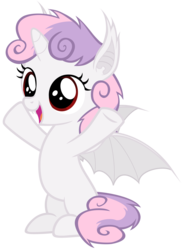 Size: 4400x6000 | Tagged: safe, artist:magister39, sweetie belle, alicorn, bat pony, bat pony alicorn, pony, absurd resolution, bat ponified, cute, diasweetes, fangs, female, filly, foal, messy mane, race swap, simple background, smiling, solo, spread hooves, spread wings, standing, sweetie bat, sweetiecorn, transparent background, vector, wings