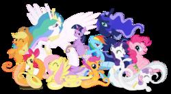 Size: 1540x851 | Tagged: safe, artist:elsdrake, apple bloom, applejack, fluttershy, gummy, pinkie pie, princess celestia, princess luna, rainbow dash, rarity, scootaloo, sweetie belle, twilight sparkle, lamia, original species, celamia, cutie mark crusaders, fluttersnake, lamiafied, lamiajack, lamiashy, lamity, mane six, pinklamia pie, rainbow coils, simple background, species swap, transparent background, twilamia, twilight snakle