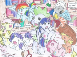 Size: 1477x1091 | Tagged: dead source, safe, artist:sparky40, applejack, discord, fluttershy, pinkie pie, rainbow dash, rarity, spike, twilight sparkle, alicorn, genie, pony, age regression, babity, baby, baby dash, baby pie, baby pony, babyjack, babylight sparkle, babyshy, crying, dialogue, diaper, female, filly, foal, frown, genie discord, happy, laughing, mane seven, mane six, mare, now you fucked up, potion, sad, scroll, shocked, smiling, traditional art, twilight sparkle (alicorn), wat, what were you thinking, wide eyes, wtf