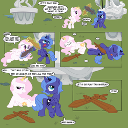 Size: 1200x1200 | Tagged: safe, artist:sketchyjackie, princess celestia, princess luna, alicorn, pony, ..., :p, bipedal, bored, butt, calvin and hobbes, cewestia, colored, comic, cute, cutelestia, double knockout, eyes closed, female, fight, filly, filly celestia, filly luna, floppy ears, frown, lunabetes, magic, mouth hold, on back, on side, open mouth, pink-mane celestia, playing, playing dead, plot, raised leg, rearing, roleplaying, smiling, sweet dreams fuel, sword, telekinesis, tongue out, walking, war, weapon, wooden sword, woona, younger