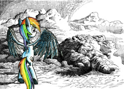 Size: 4871x3502 | Tagged: safe, artist:smellslikebeer, rainbow dash, absurd resolution, cloud, cloudy, crosshatch, detailed, female, flying, ink, looking away, partial color, rear view, sky, solo, spread wings, traditional art