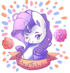 Size: 1900x1982 | Tagged: safe, artist:inkytophat, rarity, bust, fabulous, flower, motivational, old banner, solo