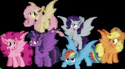 Size: 8173x4552 | Tagged: safe, artist:vector-brony, applejack, fluttershy, pinkie pie, rainbow dash, rarity, twilight sparkle, alicorn, bat pony, bat pony alicorn, pony, bats!, absurd resolution, alicornified, applebat, bat ponified, female, flutterbat, hilarious in hindsight, mane six, mare, pinkiebat, race swap, rainbowbat, raribat, raricorn, twibat, twilight sparkle (alicorn)