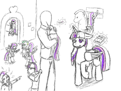 Size: 1063x798 | Tagged: artist needed, safe, spike, twilight sparkle, oc, oc:anon, oc:glimmer, alicorn, human, pony, satyr, :p, book, crying, eyes closed, family, female, floppy ears, grin, human male, magic, male, mama twilight, mare, offspring, parent:twilight sparkle, pointing, pregnancy test, pregnant, raised hoof, smiling, telekinesis, tongue out, twilight sparkle (alicorn), wink