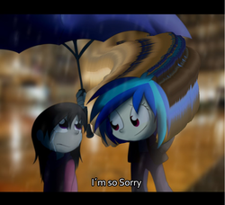 Size: 936x854 | Tagged: safe, artist:fj-c, edit, dj pon-3, octavia melody, vinyl scratch, human, are you frustrated?, crying, frown, humanized, pony coloring, rain, sad, smiling, umbrella