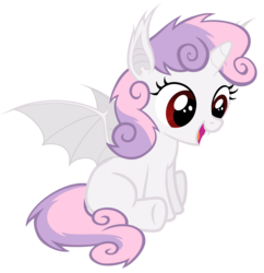 Size: 5800x6000 | Tagged: safe, artist:magister39, sweetie belle, alicorn, bat pony, bat pony alicorn, pony, absurd resolution, bat ponified, cute, diasweetes, female, filly, foal, race swap, simple background, sitting, solo, spread wings, sweetie bat, sweetiecorn, transparent background, vector, wings, xk-class end-of-the-world scenario