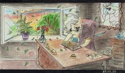 Size: 1741x1025 | Tagged: artist:7yashka7, artist:synch-anon, desk, mayor mare, office, princess celestia, quill, safe, traditional art